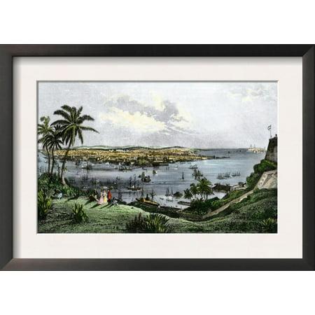 Harbor of Havana, Cuba, in the 1800s Framed Art Print Wall Art  - 18.5x13