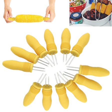 12 Pack Jumbo Corn On The Cob Holders Skewers Stainless Steel Prongs Kitchen BBQ