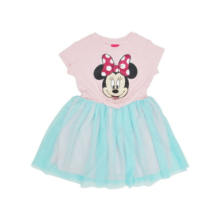 Girls Minnie Mouse Front Tie Tutu Dress Pink (Minnie Mouse Party Dress)