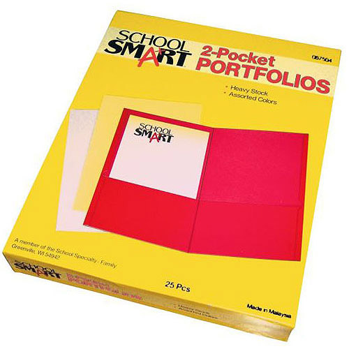 "School Smart 2-Pocket Portfolio, 8.5"" x 11"", Box of 25"
