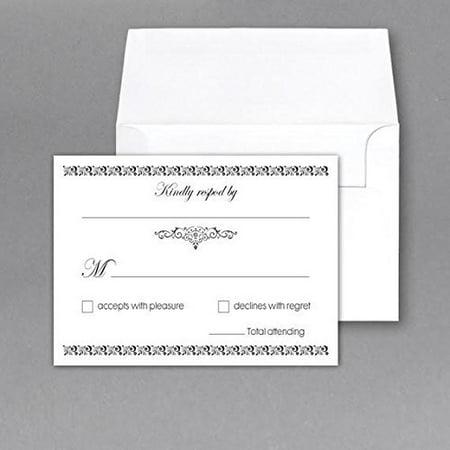 RSVP Wedding Return Cards size 4 x 6 With A6 Envelopes - 50 Per Pack - Wedding Envelope Seals