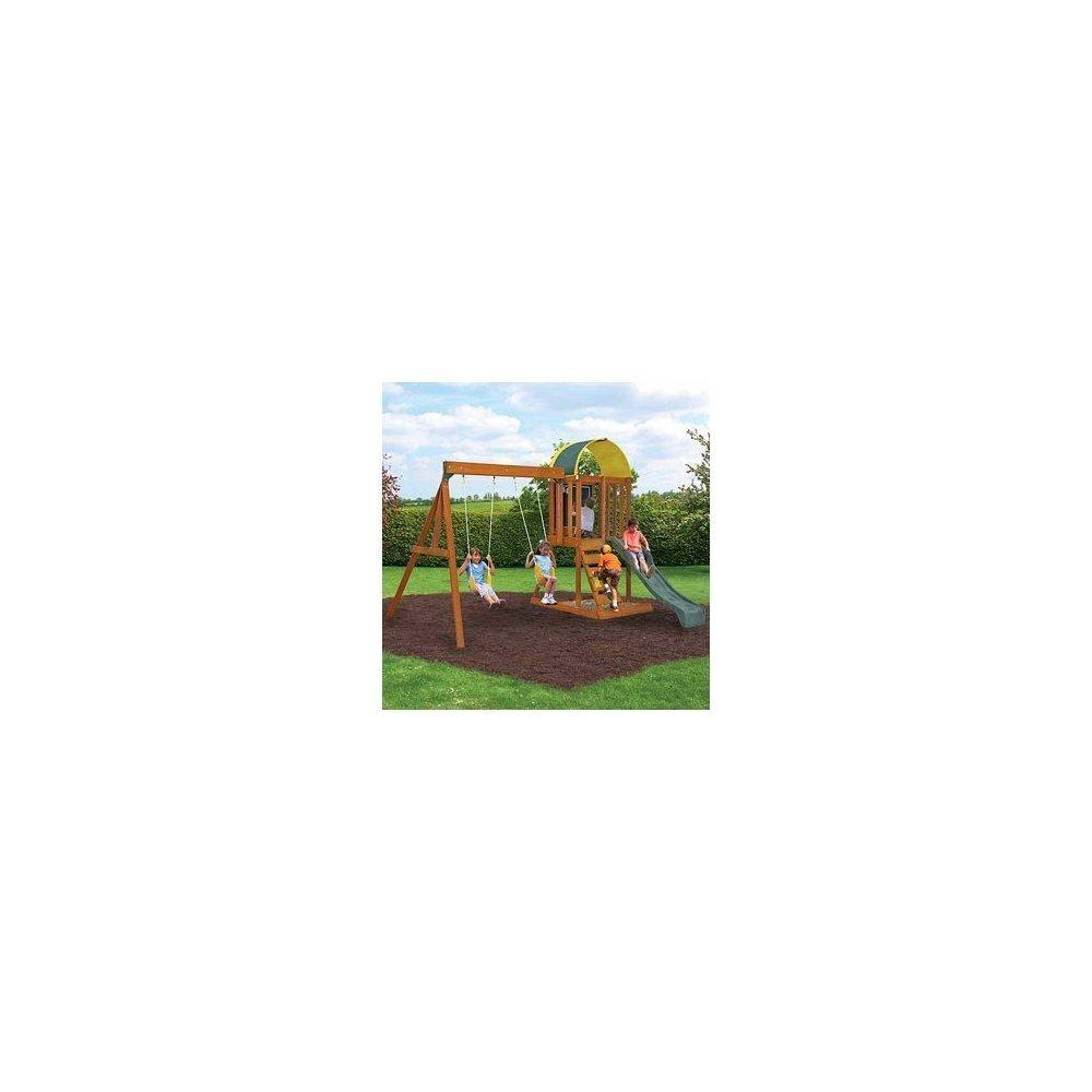 New Playground Wood Swingset Cedar Playset Outdoor Backya...