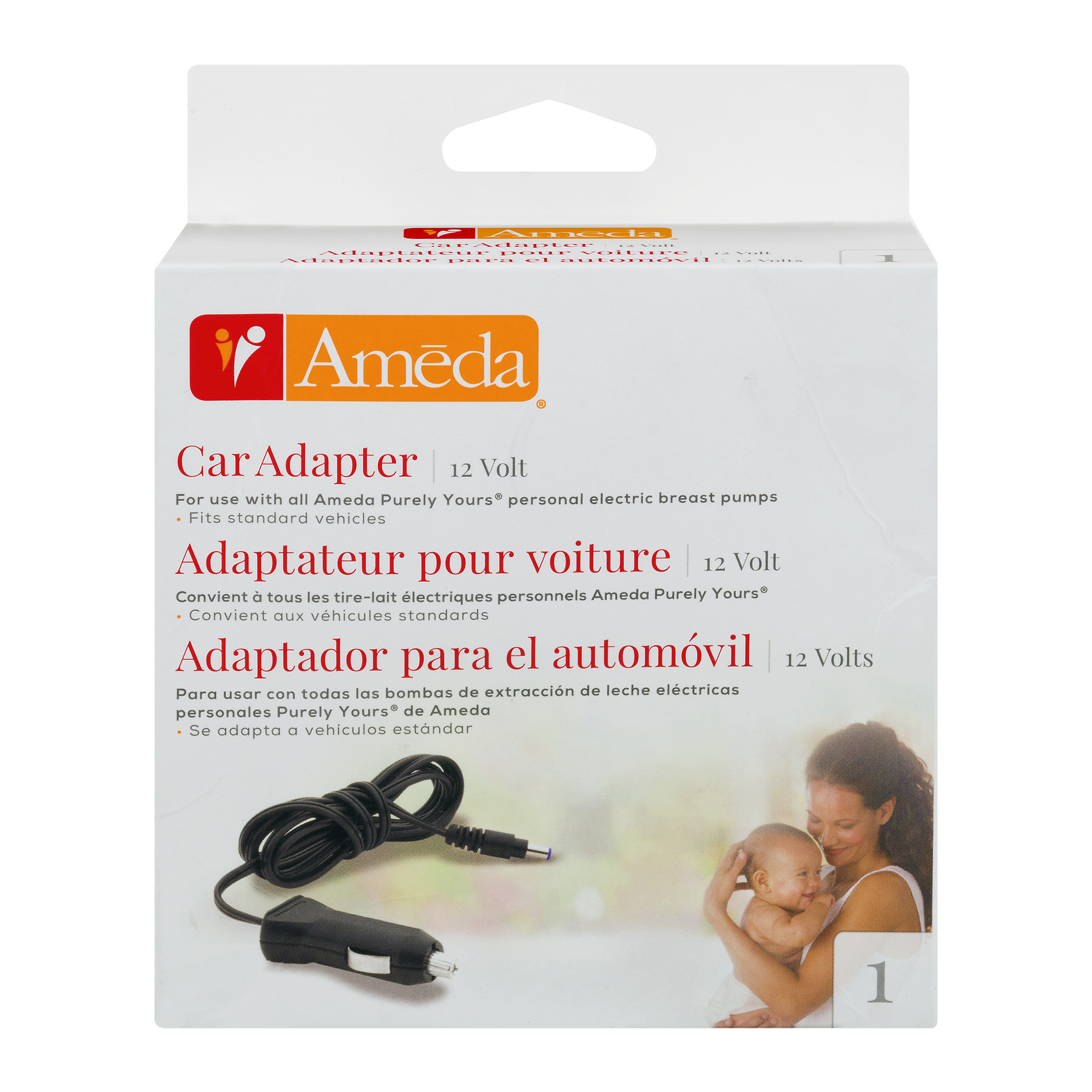 Ameda Car Adapter For All Ameda Purely Yours Personal Electric Breast Pumps, 1.0 CT