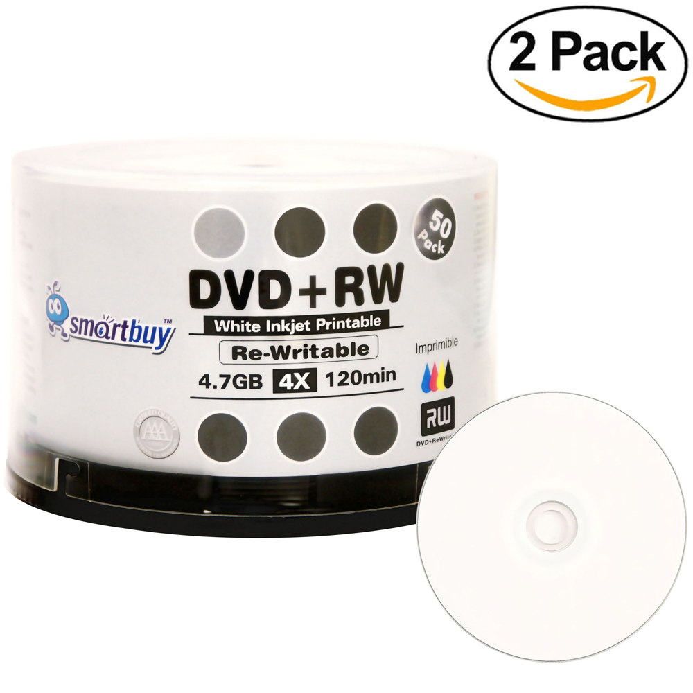 100 Pack Smartbuy Blank DVD+RW 4x 4.7GB 120Min White Inkjet Hub Printable Rewritable DVD Media Disc