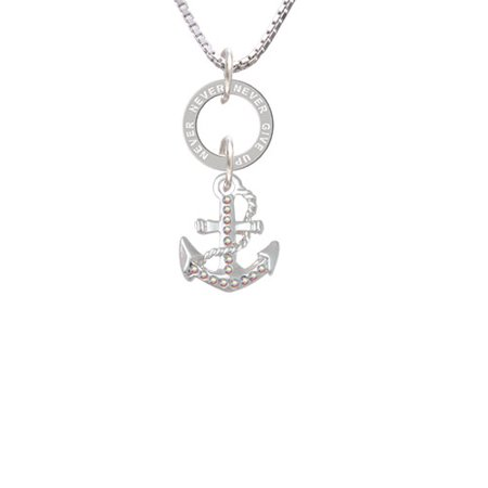 AB Crystal Anchor - Never Give Up Eternity Ring Necklace ()