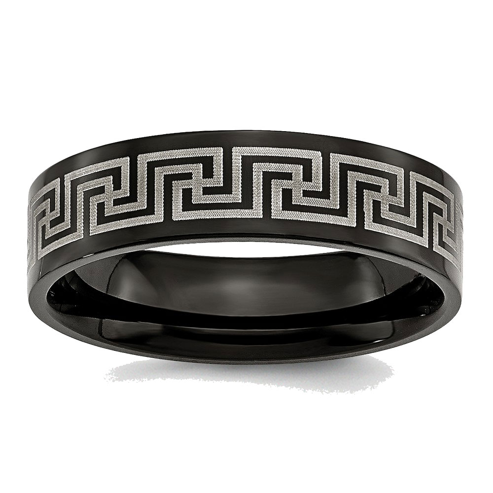 Men's Titanium Black IP-plated Greek Key Laser Etched Brushed Wedding Band Ring by Goldia