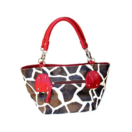Ring Hobo Handbag Purse Bag - Giraffe Print Shoulder Ring Faux Leather Satchel Bag Handbag
