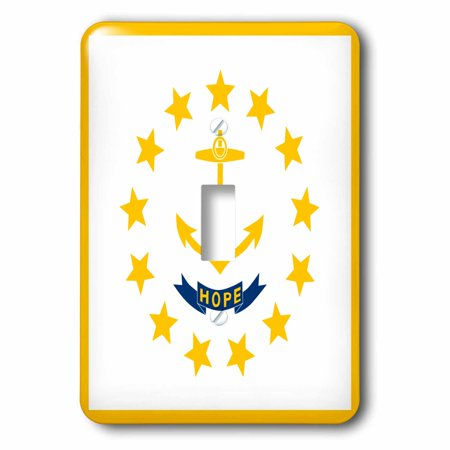 3dRose Flag of Rhode Island RI - US American United State of America USA - Yellow anchor Hope on white, 2 Plug Outlet Cover