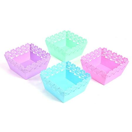 Square Easter Floral Plastic Baskets](Plastic Easter Basket)