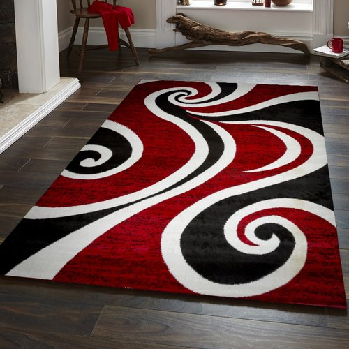 Ebern Designs Ramona Swish Red Black White Area Rug Walmart Com