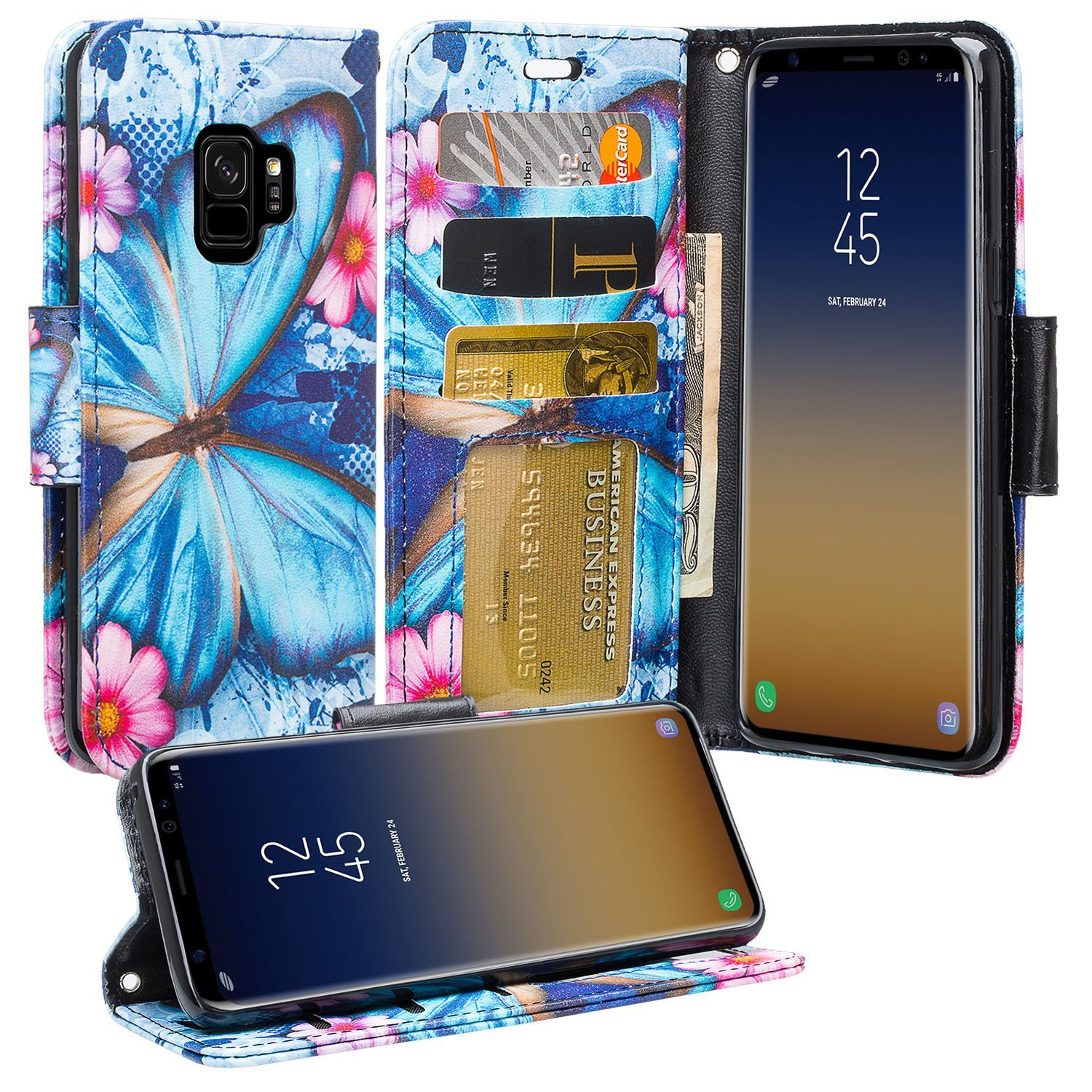 Samsung Galaxy S9+, S9 Plus Cases, Slim Flip [Kickstand] Pu Leather Magnetic Fold Wallet Case Cover w/ Card Slots - Blue Butterfly