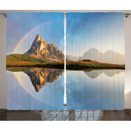 Lake House Decor Curtains 2 Panels Set, Rainbow Over Mountain Lake Reflection In Crystal Water Dreamy Spots On Earth Purity Photo, Living Room Bedroom Accessories, By (Water Spots On Car Windows Wont Come Off)