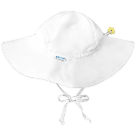 Iplay Brim Sun Hat for Baby Boy Baby Girl or Gender Neutral Sun Protection Wide Brimmed Baby Hat Solid White-Infant 9-18 Months Adjustable Fit Outdoor Swim Hat With Chin Strap Fisherman Hat Floppy Hat