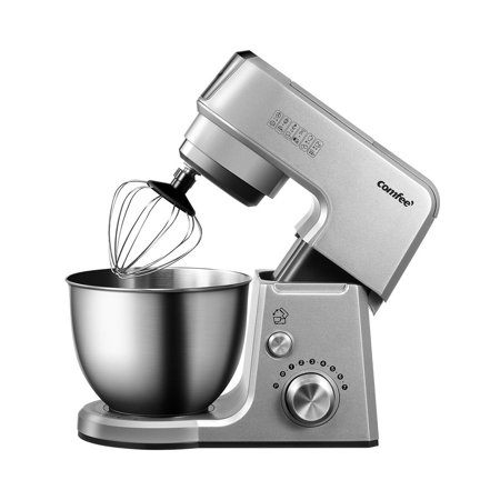 Comfee 2.6Qt Die Cast 7-In-1 Multi Function Tilt-Head Stand Mixer With SUS Mixing Bowl, Whisk, Hook, Beater, Splash Guard.4 Outlets, 7 Speeds & Pulse, 15 Minutes Timer Planetary Mixer (Space Grey)