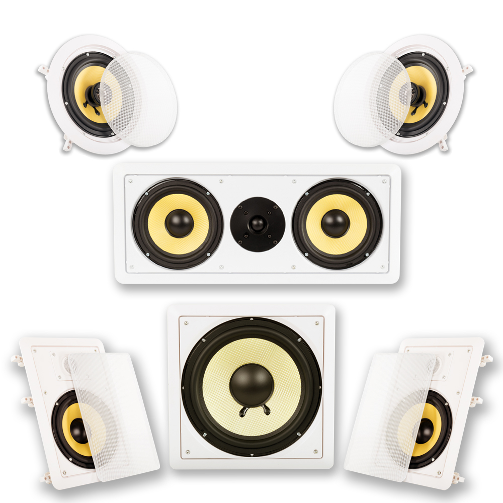 Acoustic Audio HD-516 In-Wall/Ceiling Home Theater Surround 5.1 Speaker System