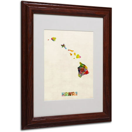 "Trademark Fine Art ""Hawaii Map"" Matted Framed Art by Michael Tompsett, Wood Frame"