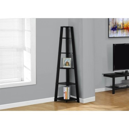 "Monarch 72"" 5-Shelf Corner Bookcase Etagere, Black"