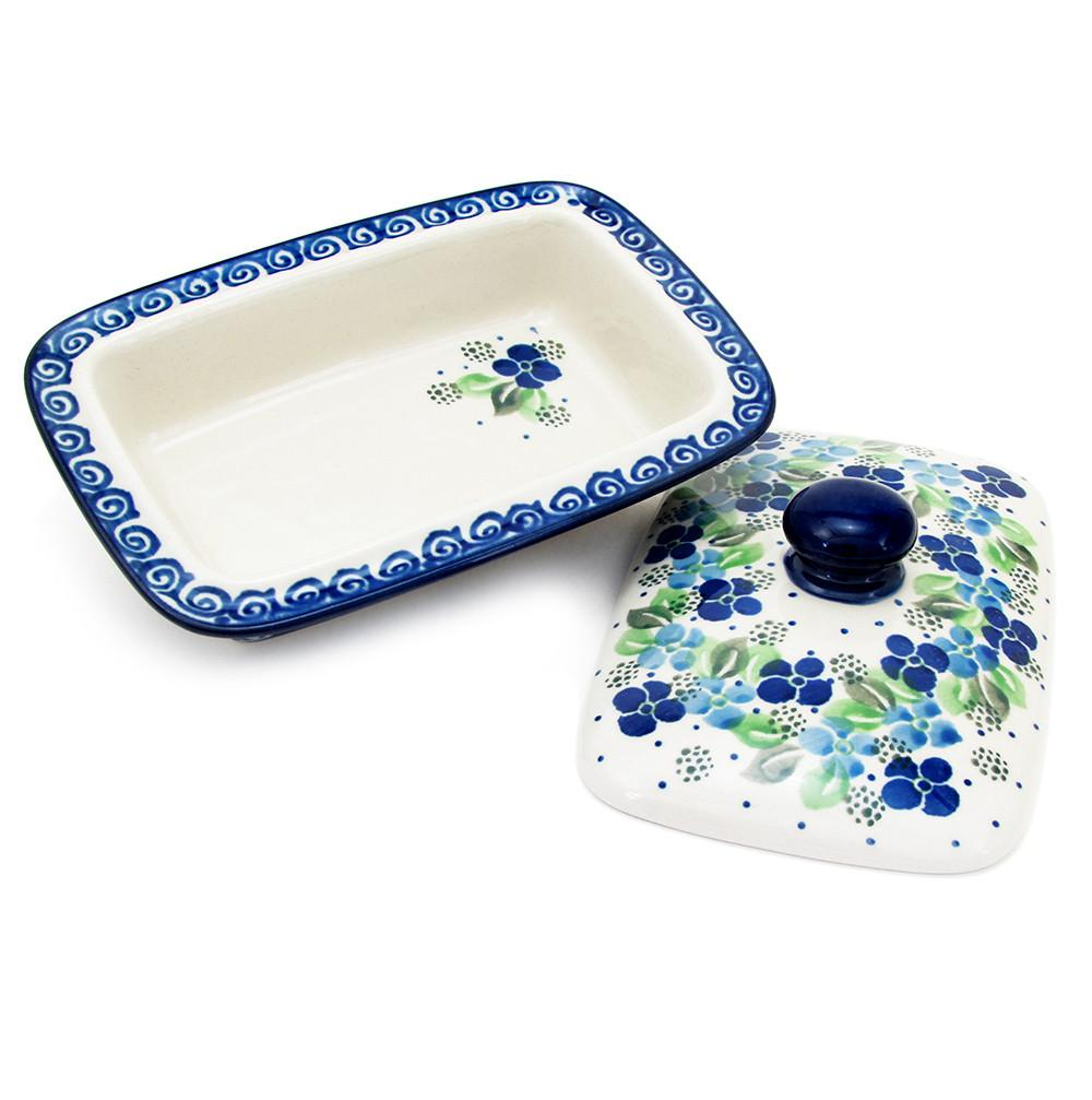 Polish Pottery Handmade 2 Piece Covered Butter Dish Traditional Pattern 294-Blue Violets