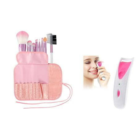 Zodaca 8 pcs Professional Cosmetics Makeup Brushes Set Kit Powder Foundation Eye shadow Eyeliner Blush Lip Tools + Electric Eyelash Curler Makeup Clip Kit Pink (2-in-1 Accessory