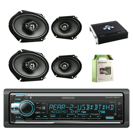 Kenwood Single Din Cd Am Fm Car Audio Receiver W  Bluetooth With Kenwood Performance Series 6 8 Inch 720W 3 Way Custom Fit Coaxial Speaker Black 2  Paris  Autotek 4 Chan Amplifier   Enrock Wiring Kit