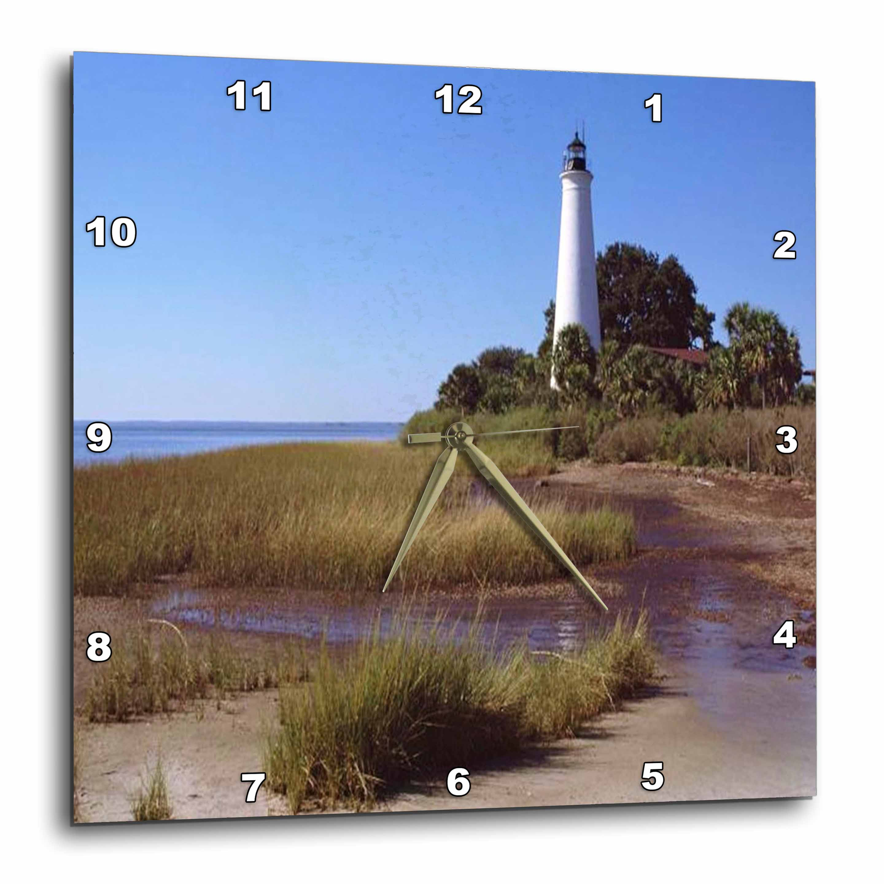 3dRose Coastal Lighthouse, Wall Clock, 10 by 10-inch