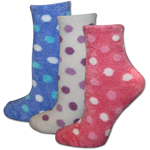 MUK LUKS - Women's Polka Dot Buttercreme Sock with Aloe 3-Pack, Assorted Colors