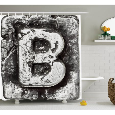 Letter B Shower Curtain, Steel Aged B with Toned Cracks and Distressed Effects Ceramic Inspired Print, Fabric Bathroom Set with Hooks, 69W X 84L Inches Extra Long, Silver Grey, by (Ceramic Shower Accessories)