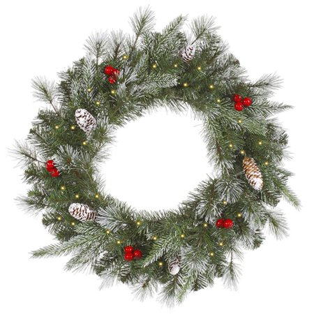 "24"" Pre-Lit Frosted Pine Berry Artificial Christmas Wreath - Clear Lights"