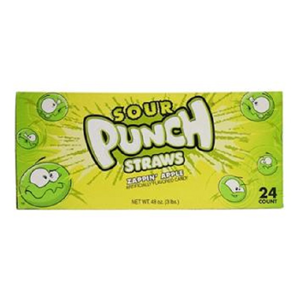 Product Of Sour Punch Straws, Zappin Apple, Count 24 (2 oz) - Sugar Candy / Grab Varieties & Flavors