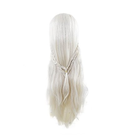 Game Of Thrones Halloween Tumblr (Game of Throne Daenerys Targaryen White Long Hair Women's Wig Cosplay Halloween)