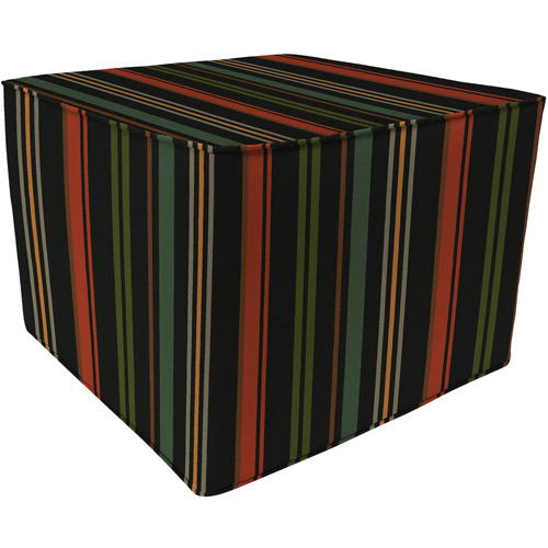 Square Outdoor Stripe Pouf Ottoman, Lundsford Stripe Onyx