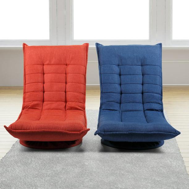 Jaxpety Adjustable 5-Position Floor Chair Fabric Folded 360