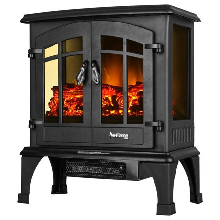 - Jasper Free Standing Electric Fireplace Stove by e-Flame USA - Black