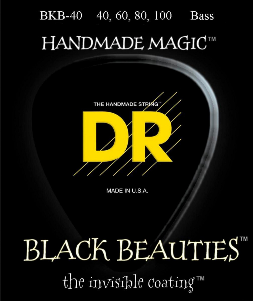 DR Strings BLACK BEAUTIES Coated 4-String Bass Light (40-100) by DR Strings