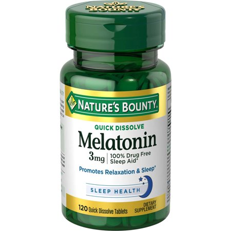 Nature's Bounty Melatonin Dietary Supplement Quick Dissolve Tablets, 3mg, 120 (120 Tablets Dietary Supplement)