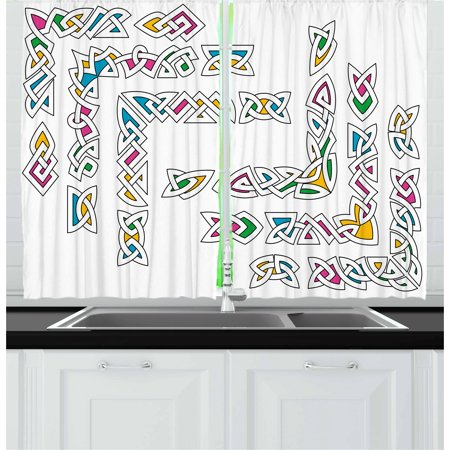 Irish Curtains 2 Panels Set, Celtic Ornament Patterns Set Colorful Vibrant Entangled Gaelic Ethnic Ancient Borders, Window Drapes for Living Room Bedroom, 55W X 39L Inches, Multicolor, by Ambesonne