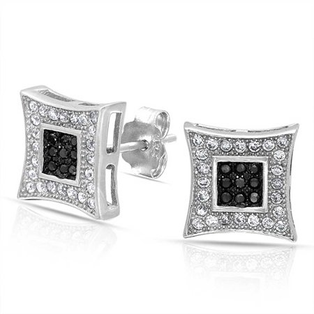 Black & White Pave (Black White Square Shaped Cubic Zirconia Micro Pave CZ Kite Stud Earrings For Men 925 Sterling Silver 10MM)