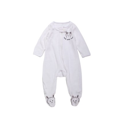 6-9 Months Baby Loose Fit Super Soft Terry Footed Sleep and Play Pajamas White