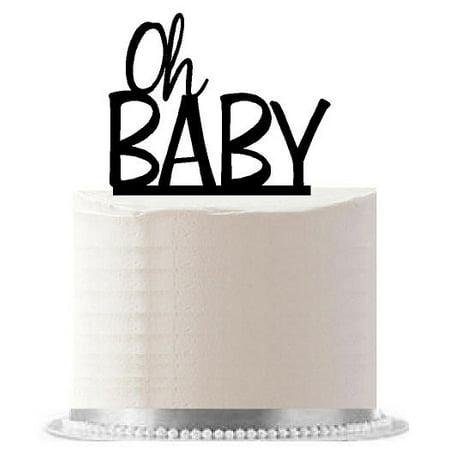Oh Baby Black Birthday / Baby Shower Party Elegant Cake Decoration Topper