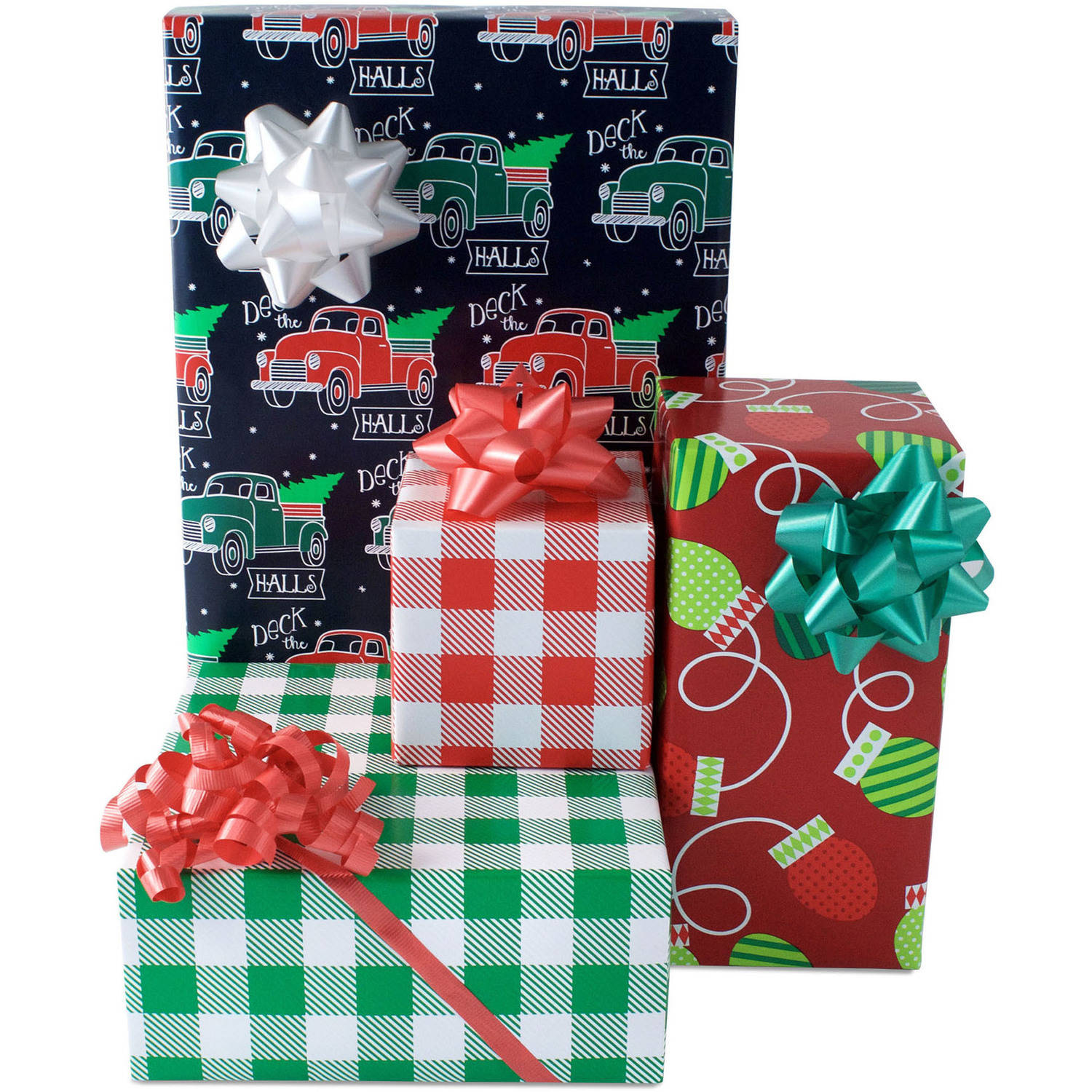 Christmas Retro Holiday Gift Wrap Paper and Accessories Kit ...