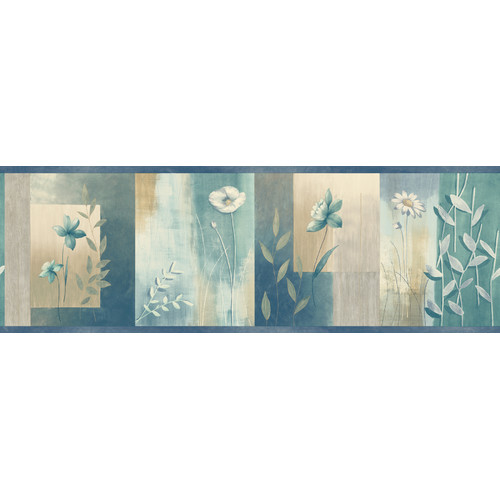 Brewster Home Fashions Meadowlark Bonnard Colorblock 15' x 6'' Floral Border Wallpaper