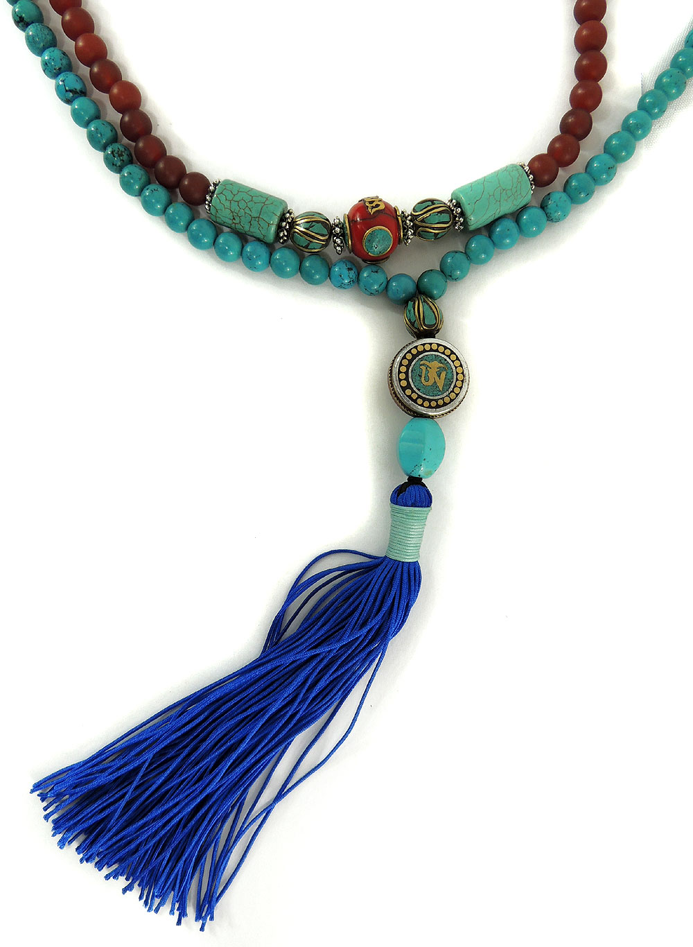 Tibetan Necklace Turquoise Mala Carnelian Prayer Beads 43 Inch by