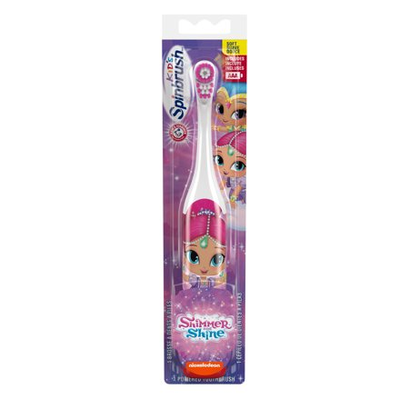 Arm & hammer kids spinbrush shimmer and shine soft battery-powered toothbrush, 1 count , character m