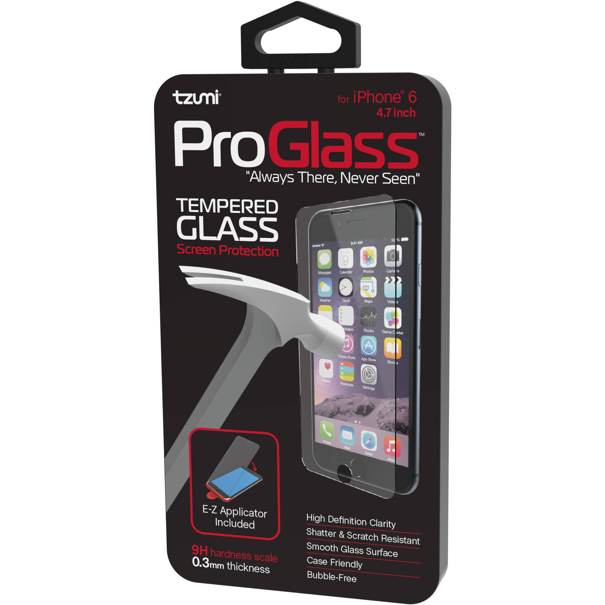 Tzumi ProGlass Premium HD Tempered Glass Screen Protector with Easy Applicator for Apple iPhone 6/6S