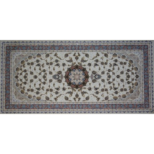 Astoria Grand Owatonna Hand Look Persian Wool Blue/Dark Brown/Beige Area Rug