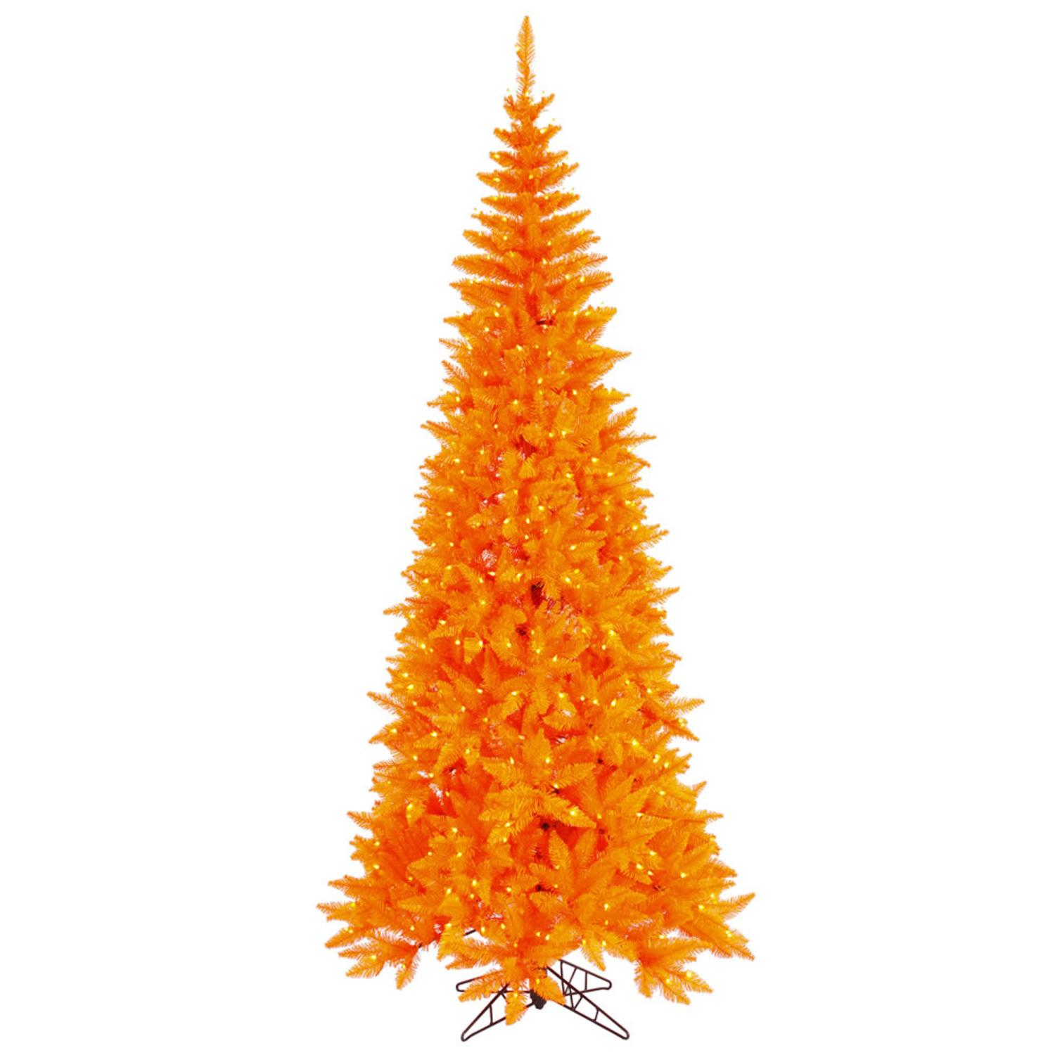7.5' Pre-Lit Orange Fir Slim Artificial Halloween/Christmas Tree - Orange Lights