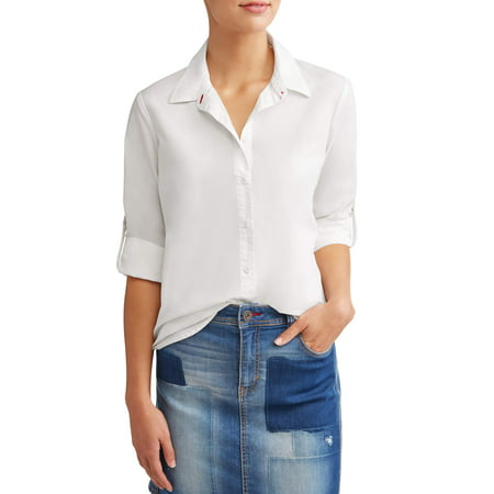 Poplin Casual Button Down Shirt Women