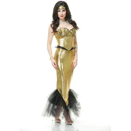 Fantasy Mermaid Costume (Adults Womens  Tight Gold Black Fantasy Mermaid)
