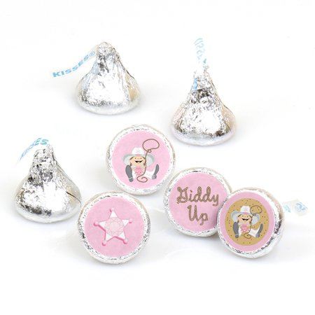 Little Cowgirl - 108 Round Candy Labels Party Favors - Fits Hershey's Kisses - Cowgirl Birthday Party Ideas