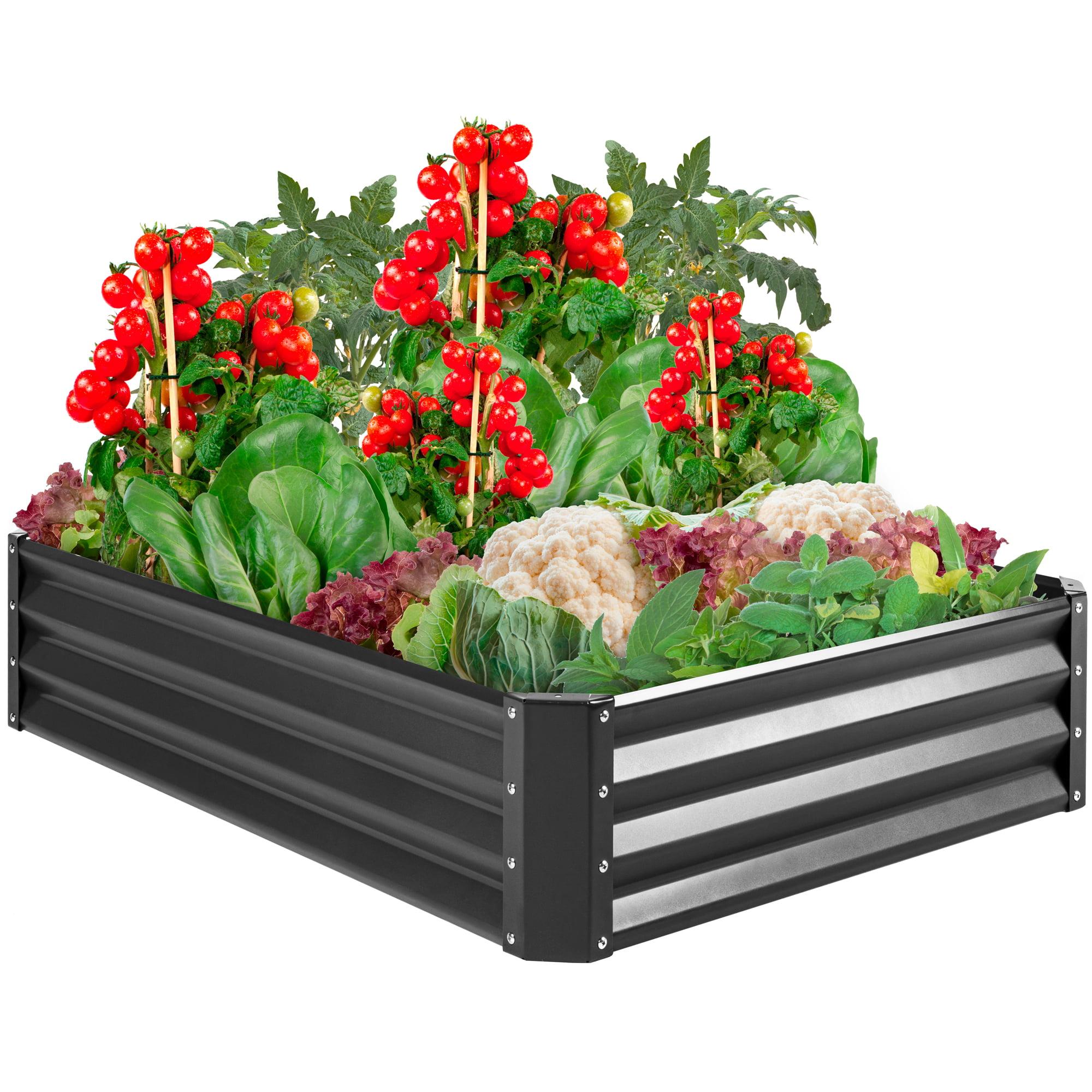 Best Choice Products 4x3x1ft Outdoor Metal Raised Garden Bed For Vegetables Flowers Herbs Plants Dark Gray Walmart Com Walmart Com